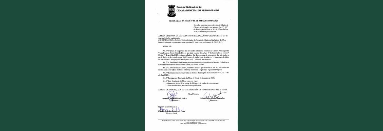 Resolução da Mesa nº03 de 08 de Junho de 2020.
